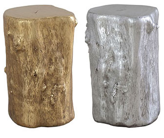 Silver_Gold Leaf Log Stool