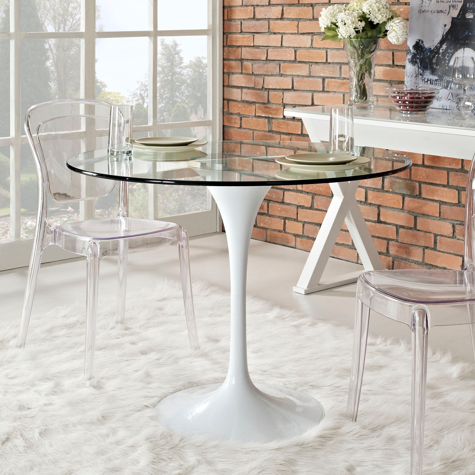 Anabel 40in Glass Dining Table1