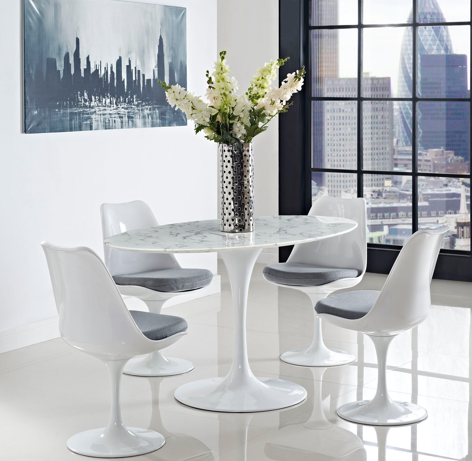 Anabel 60in Artificial Marble Dining Table1