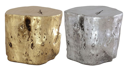 Silver Gold Log End Tables